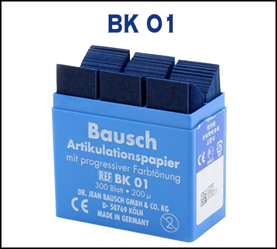 Bausch Articulating Paper 200 µ with Dispenser Blue 300 strips